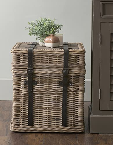 EAST at MAIN Colwell Brown Square Rattan Accent End Table