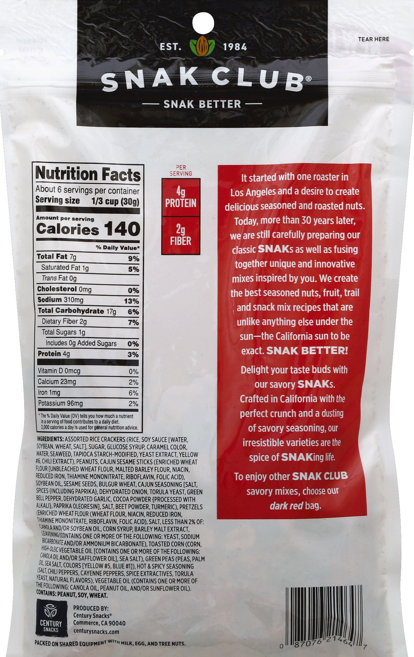 Snak Club Spicy Party Snack Mix, 6.75-Ounces, 6-Pack by Snak Club (Image #1)