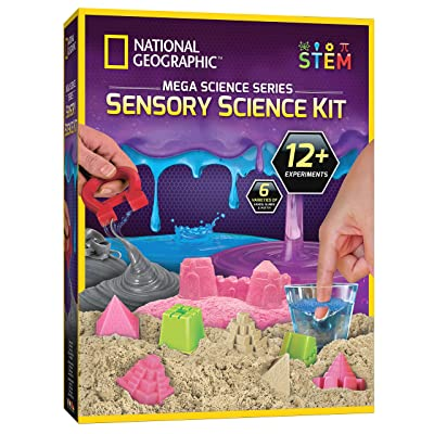 NATIONAL GEOGRAPHIC Sensory Science Kit - Mega Science Combo Kit for Kids, Includes Kinetic Play Sand, Slime, Putty, and Other Sensory Experiments, Great Interactive Learning and Stress Relief Toy: Toys & Games