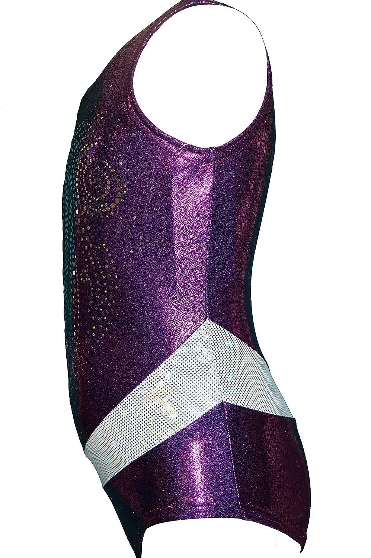 Made in USA Concinnity BeUniqueUSA Girls Sparkle Gymnastics Purple Twister Leotard