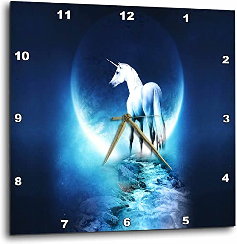 3dRose DPP_54188_2 White Unicorn in Front of Full Moon Wall Clock, 13 by 13-Inch
