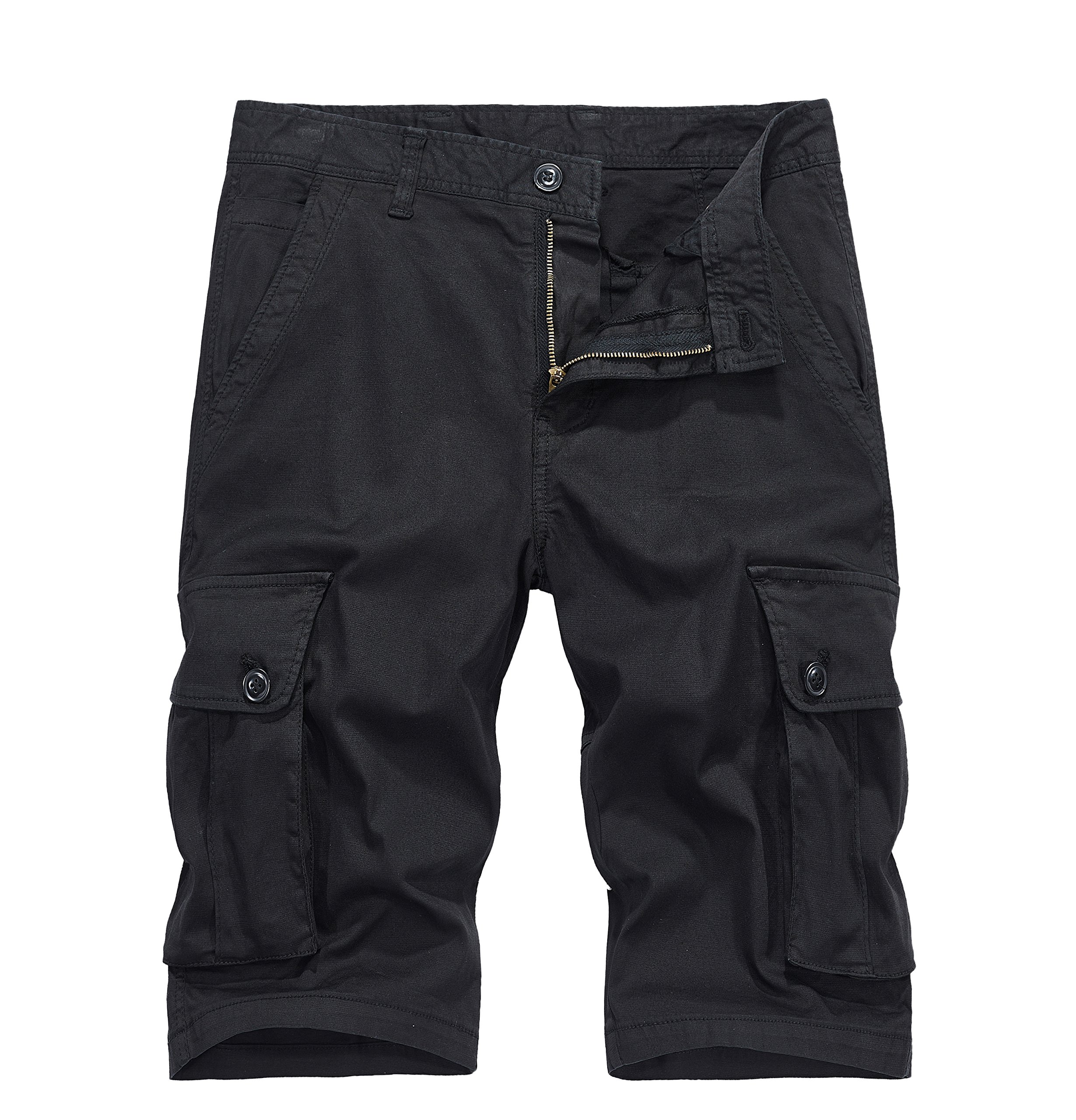VAVE Mens Cargo Shorts Tactical Multiple Pocket Military Outdoor Wear Sports Beach Mountain Hiking Jogger Fishing Army Baggy Running Casual Big Size Loose Slim Fit Daily Leisure Summer (34, Black)
