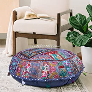 Stylo Culture Indian Floor Pillow Cover Vintage Patchwork Round Bohemian Seating Grey Huge 40x40 Inch Decorative Round Decor Seating Tuffet Seat Pouf Cover Footstool Cotton Embroidered 1 Pc