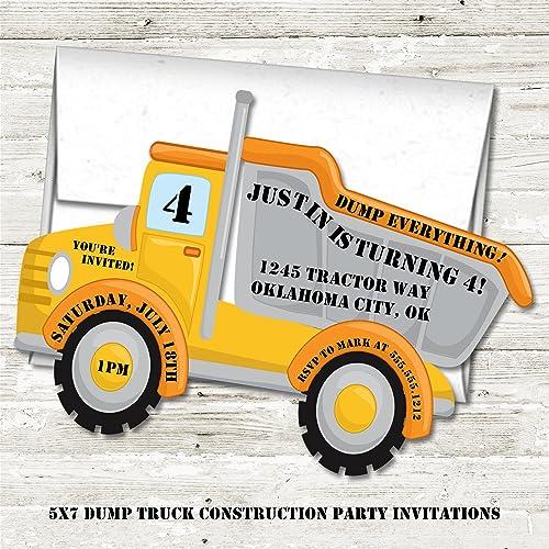 amazon com dump truck construction birthday party invitations