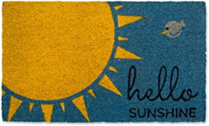 DII Indoor/Outdoor Natural Coir Fiber Spring/Summer Doormat, 18x30, Hello Sunshine