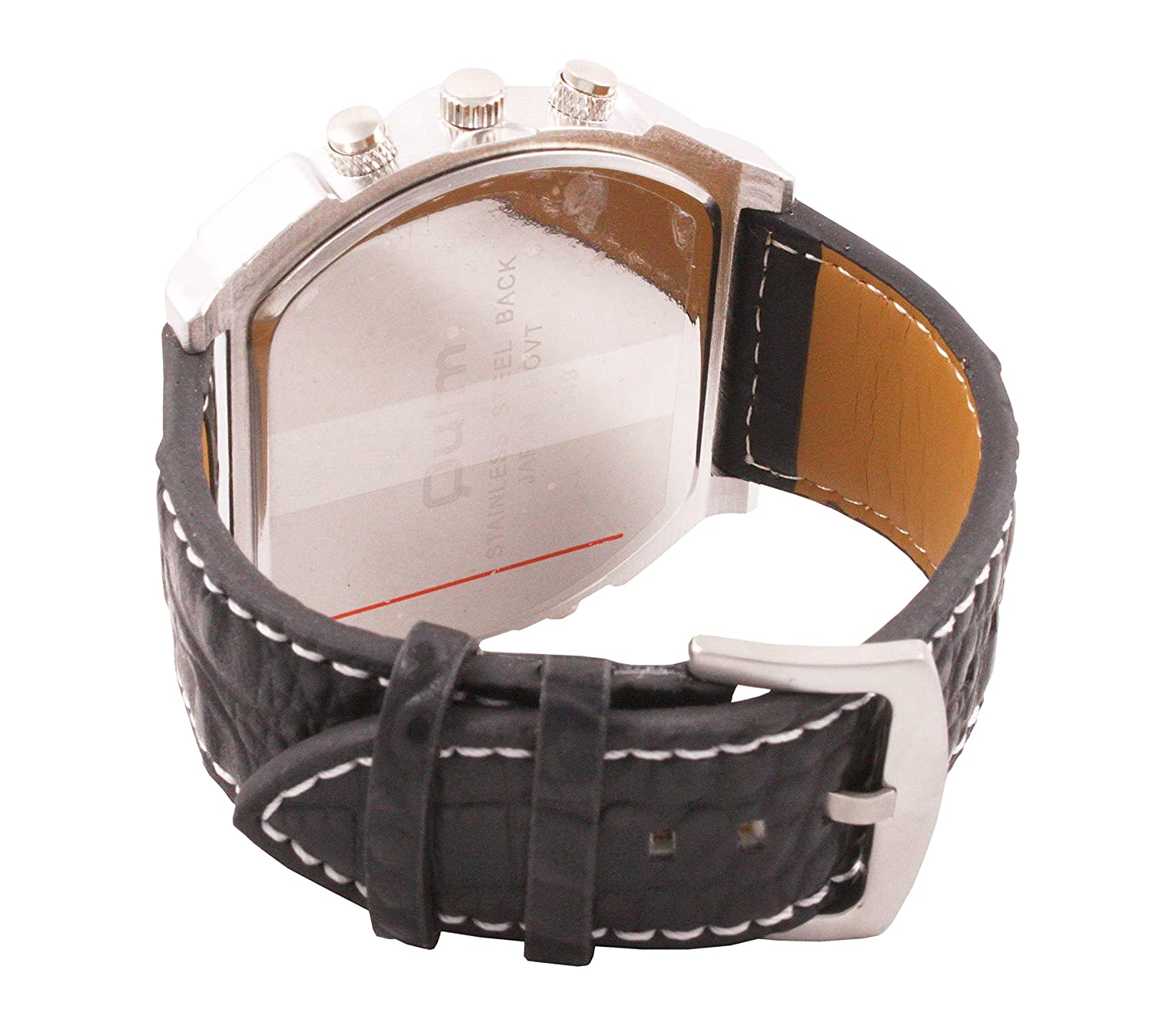 Amazon.com: ShoppeWatch Mens Oversized Watch Dual Time Display Quartz Black Leather Band White Dial OM-170: Watches