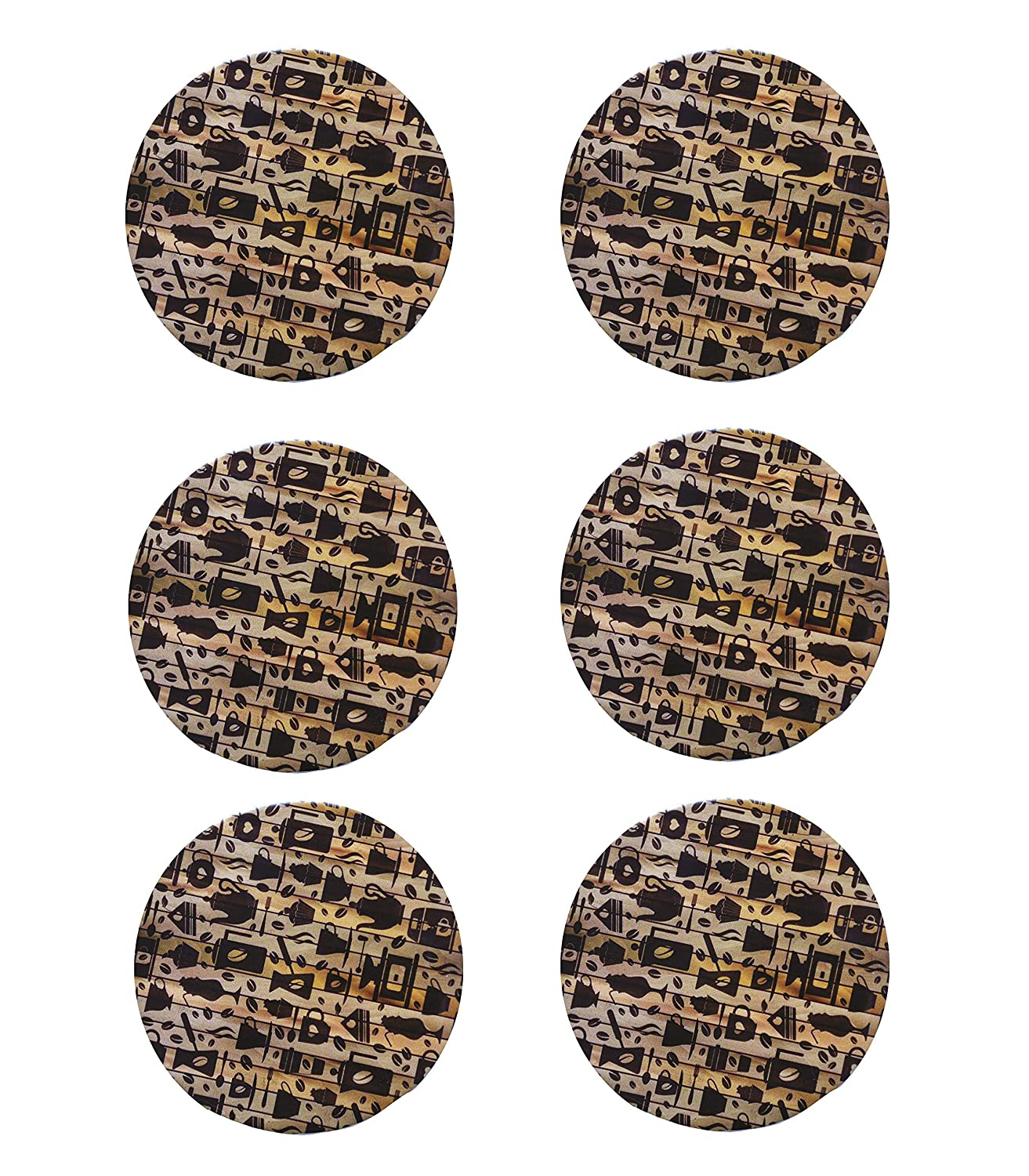 Beverage Brown Coasters Set of Round Personalized Drink Coasters Round, Pack of 12 Bar//Dining Accessories Printed Wooden