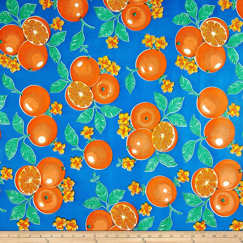 Oilcloth Oranges Blue Fabric by OilCloth International   B00OZ4I46E