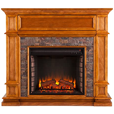 Buy Southern Enterprises Belleview Faux Stone Fireplace TV Stand in Sienna: Gel & Ethanol Fireplaces - Amazon.com ? FREE DELIVERY possible on eligible purchases