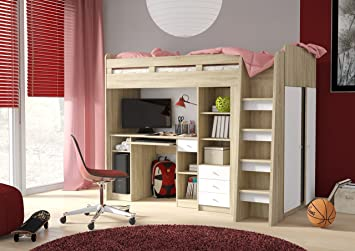 Furniturefactor Combi Mid High Sleeper Storage Bunk Bed Desk Wardrobe Shelving (P5DS1T03) & Furniturefactor Combi Mid High Sleeper Storage Bunk Bed Desk ...
