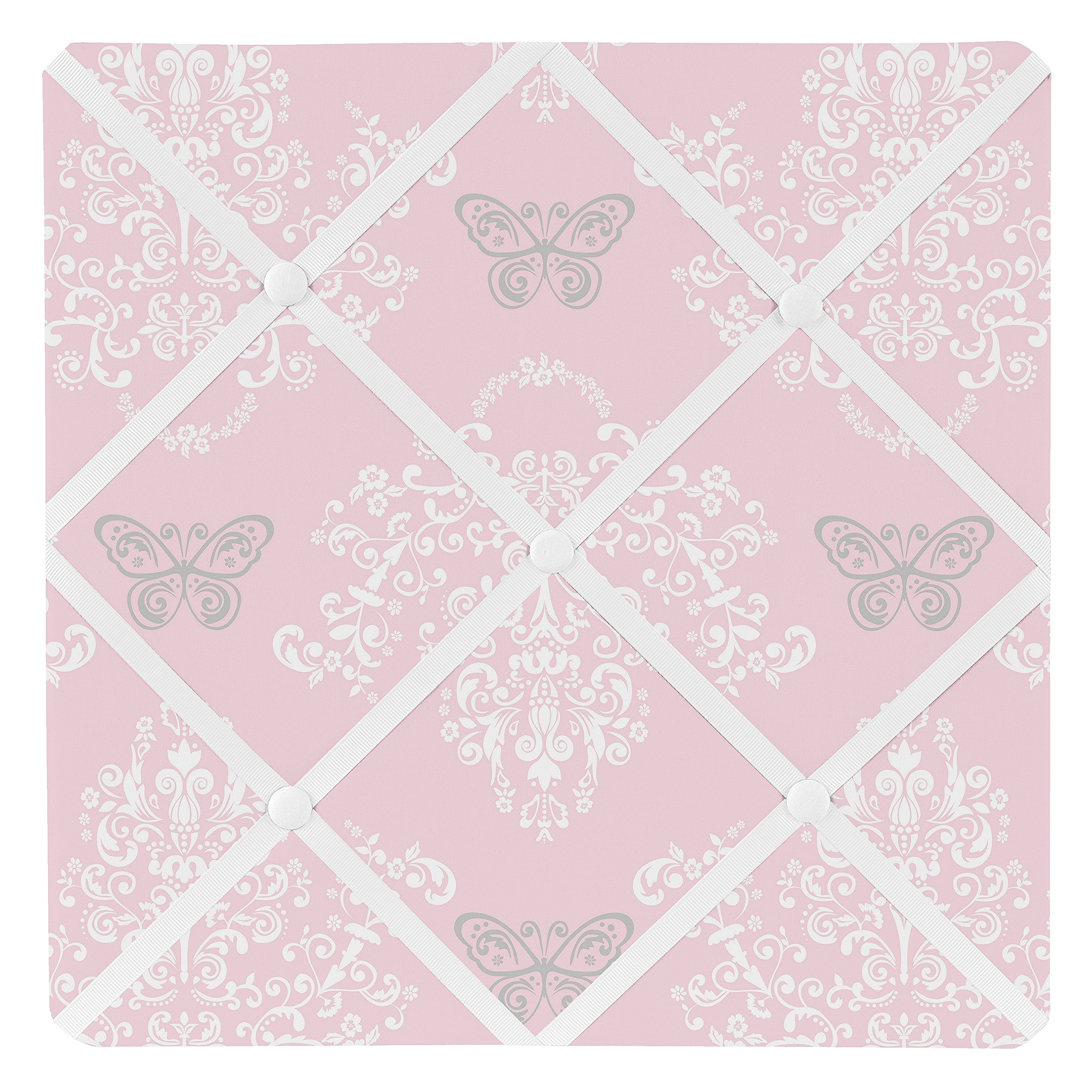 Sweet Jojo Designs Pink and Gray Damask Butterfly Fabric Memory/Memo Photo Bulletin Board For Alexa Collection