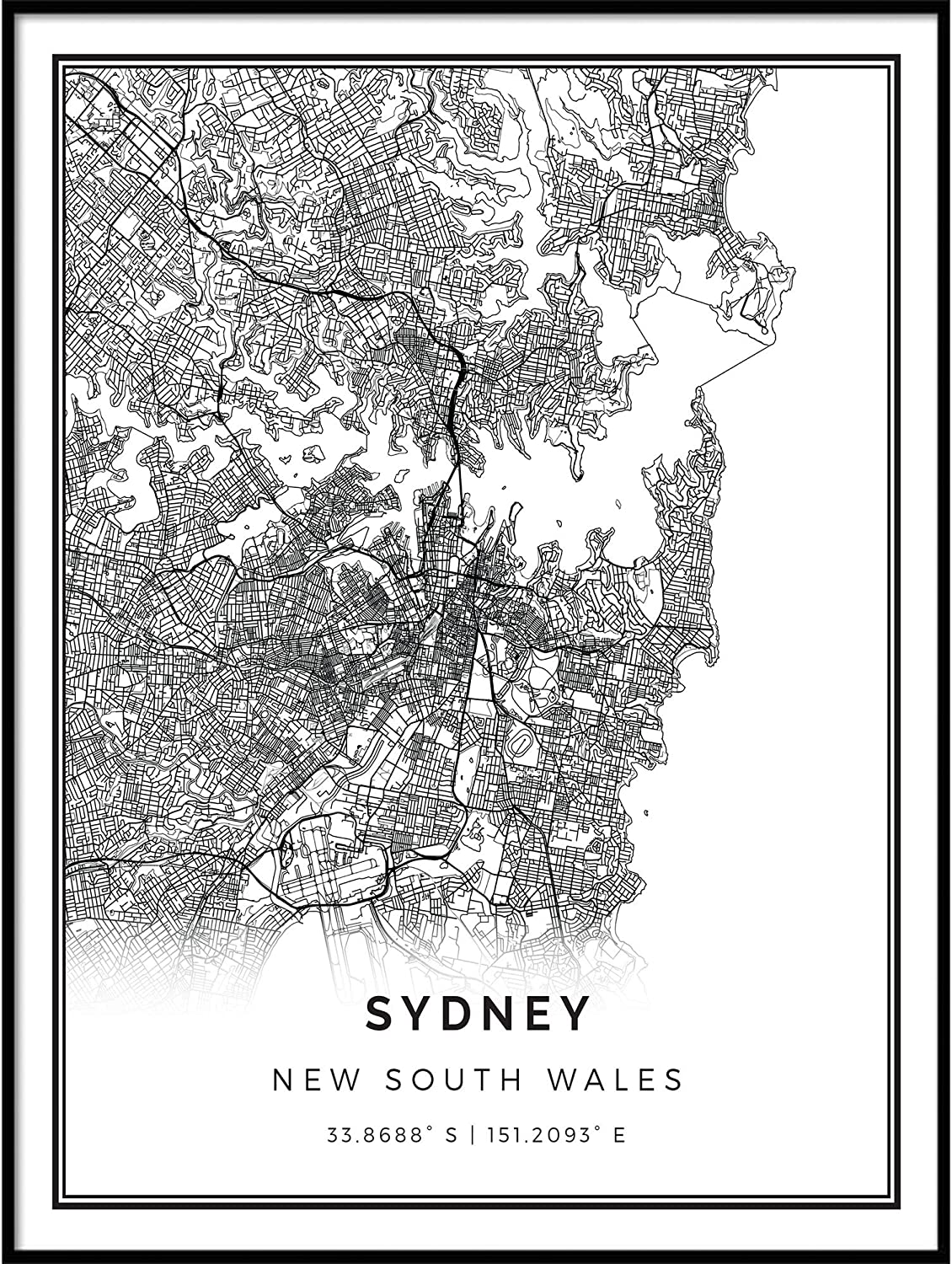 Sydney map Poster Print | Modern Black and White Wall Art | Scandinavian Home Decor | New South Wales City Prints Artwork | Fine Art Posters 18x24