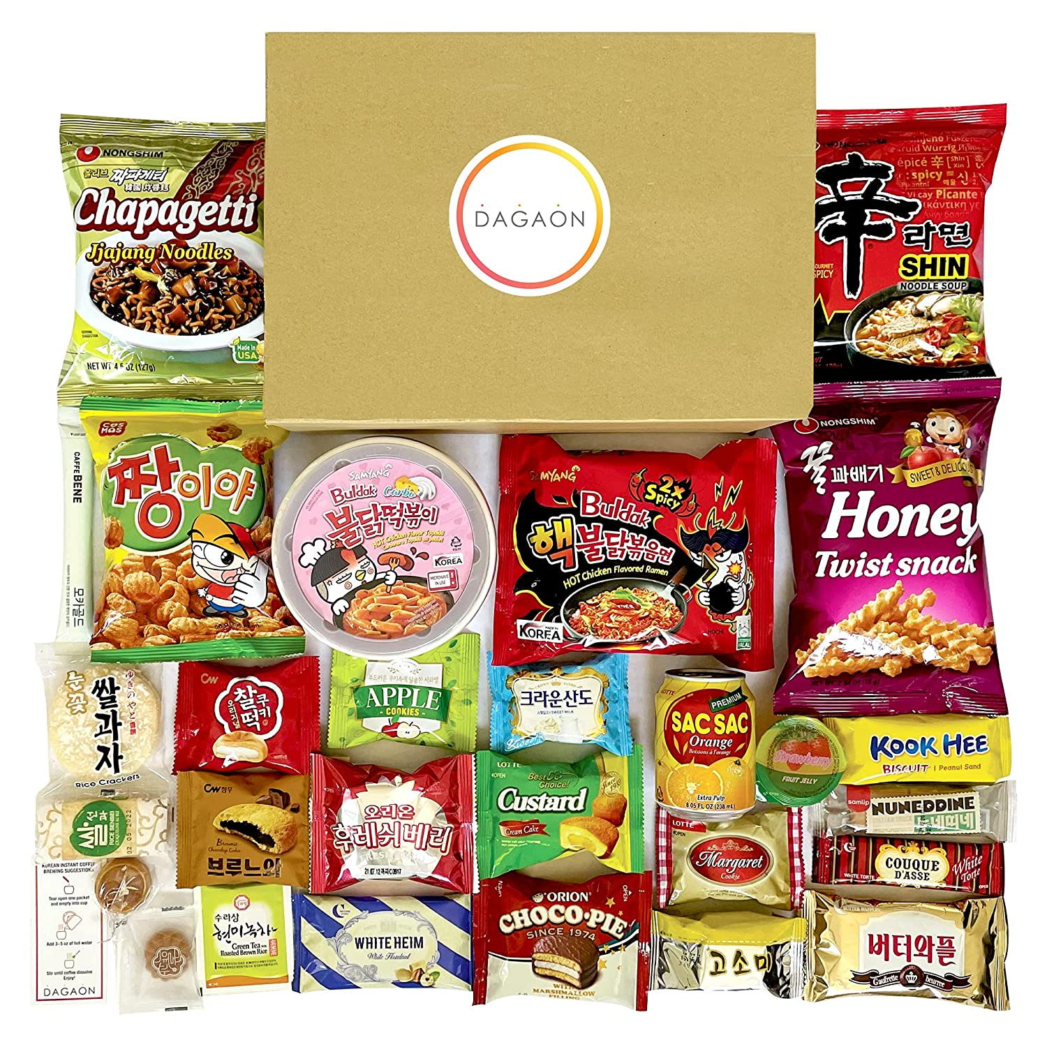 DAGAON Premium Korean Snack Box 28 Count – Scrumptious Korean Snacks and Foods Including Chips, Biscuits, Cookies, Pies, Candies, Ramen Noodles, Tteokbokki. Variety Korean snacks for any occasions, gifts and everyone.