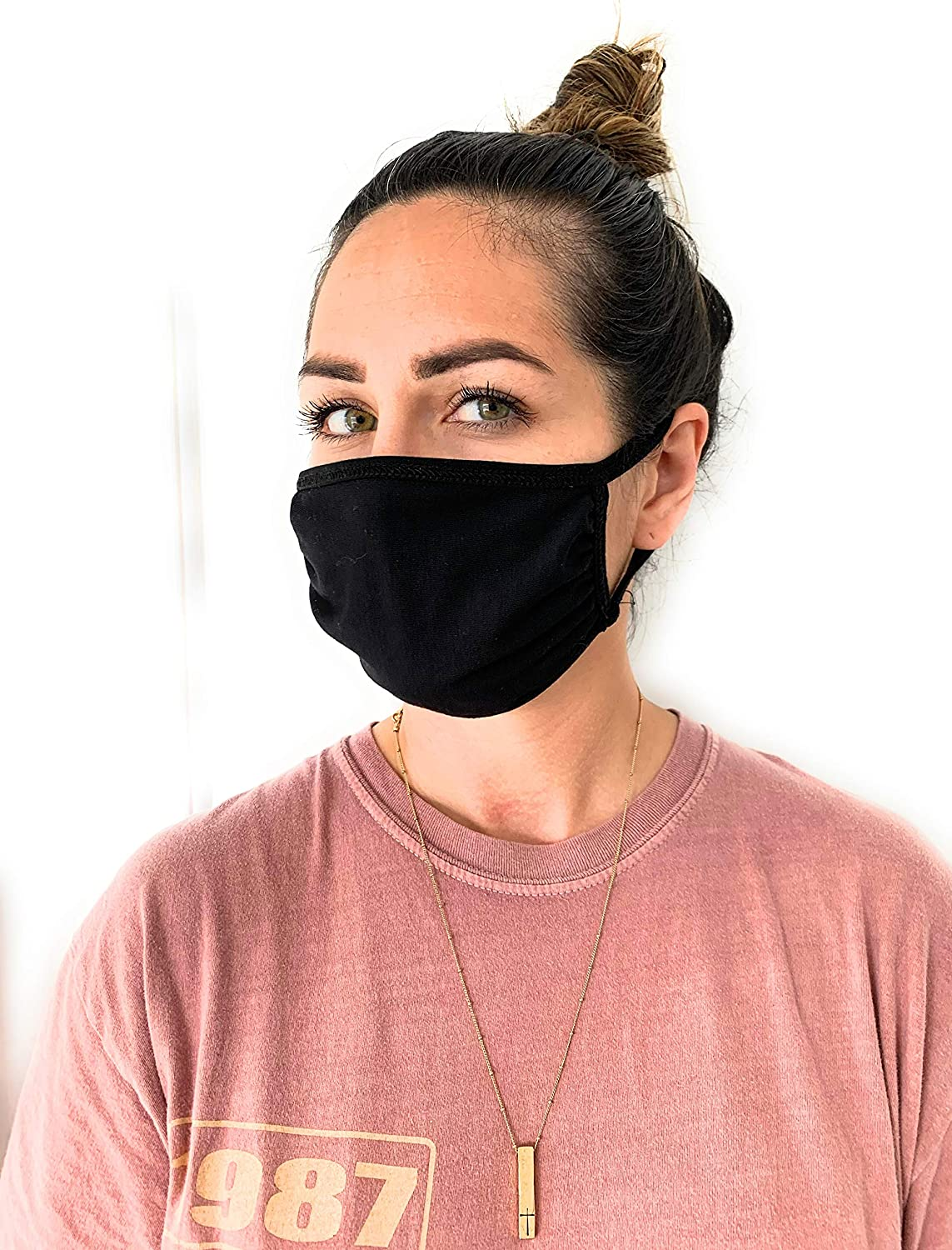 UNIME Fashion Protective Face Masks, Unisex Black Dust Cotton Mouth Masks, Washable, Reusable Masks Pack of 4