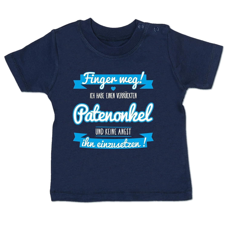 Shirtracer Sprüche Baby - Ich Habe einen verrückten Patenonkel blau - Babyshirt Kurzarm BZ02