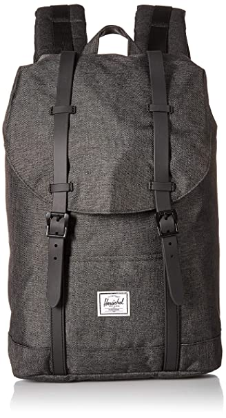 31c9b3bc603 Amazon.com   Herschel Retreat Mid-Volume Backpack Crosshatch Black Rubber,  One Size   Casual Daypacks