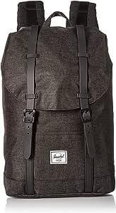 Herschel Retreat Backpack, Black Crosshatch/Black Rubber, Mid-Volume 14.0L, Retreat Backpack