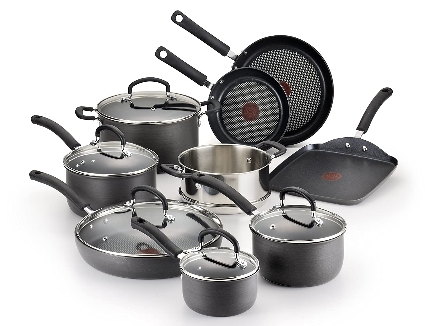T-fal Hard Anodized Cookware Set, Nonstick Pots and Pans Set, 14 Piece, Thermo-Spot Heat Indicator, Gray