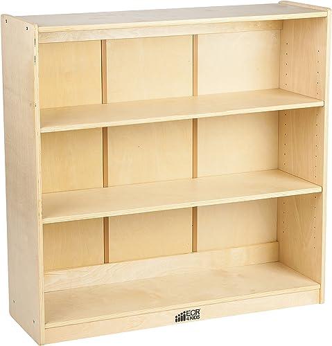ECR4Kids 36 H Birch Bookcase with Adjustable Shelves, GREENGUARD Gold Certified Wooden Bookshelf Organizer for Kids, 3 Storage Shelves, Shelving Units and Storage, Natural