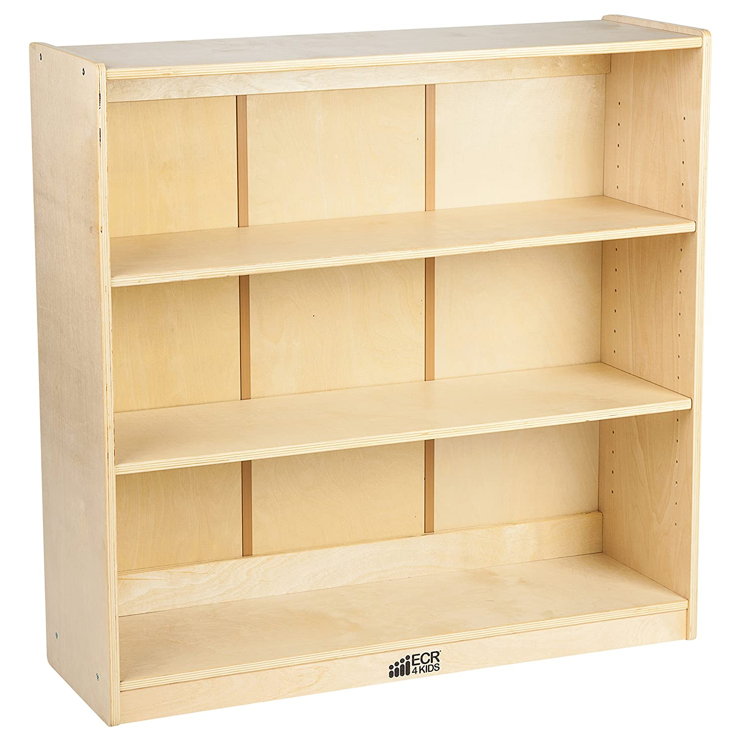 "ECR4Kids Birch Bookcase with Adjustable Shelves, Wood Book Shelf Organizer for Kids, 3 Shelf, Natural, 36"" H"