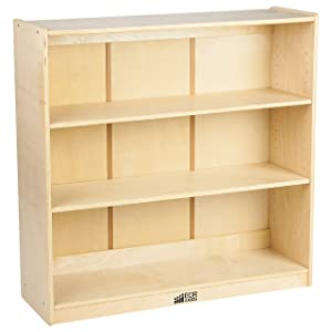 "ECR4Kids Birch Bookcase with Adjustable Shelves, Wood Book Shelf Organizer for Kids, 3 Shelf, Natural, 36"" H"