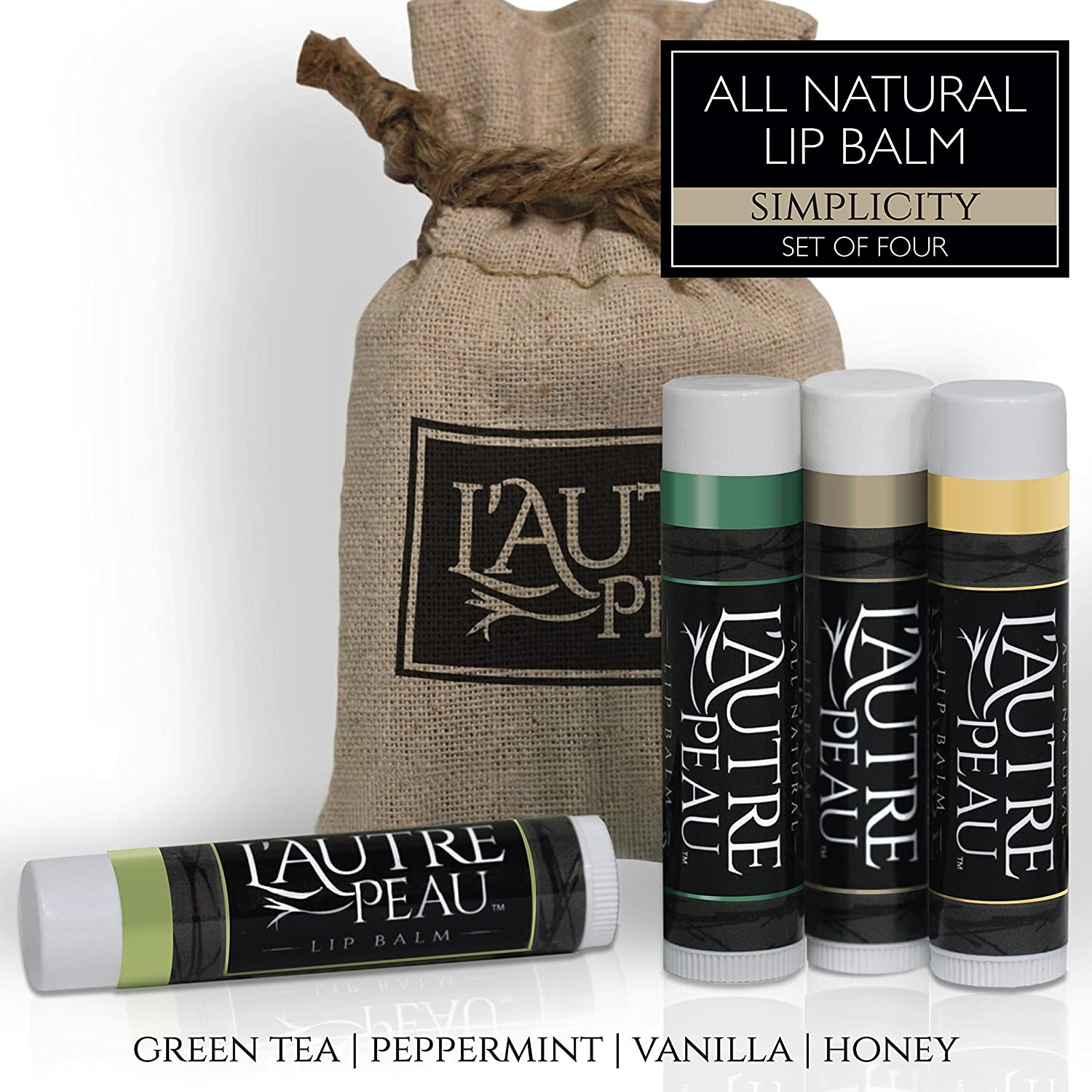 All Natural Luxury Lip Balm with Natural Beeswax by L'AUTRE PEAU - Dry Chapped Lips Treatment with Moisturizer | Simplicity Gift Set | Green Tea, Peppermint, Vanilla & Honey (4 Pack)