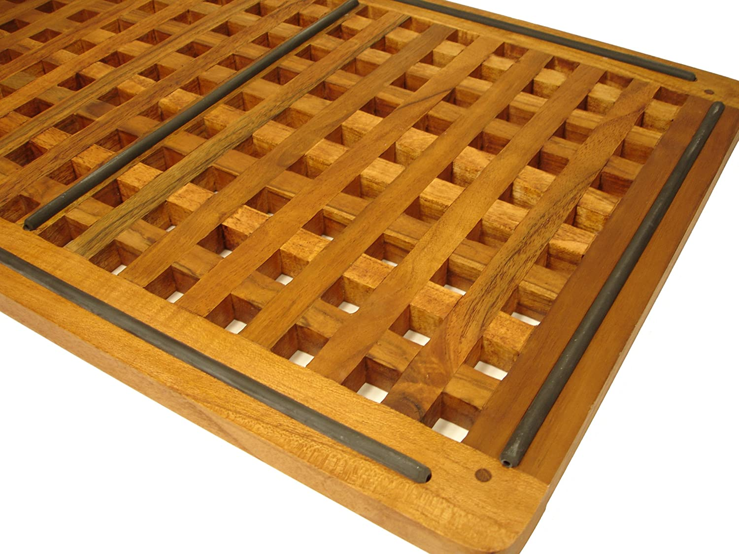 Amazoncom The Original Teak Grate Bath Shower Mat Home Kitchen - Rubber grate flooring