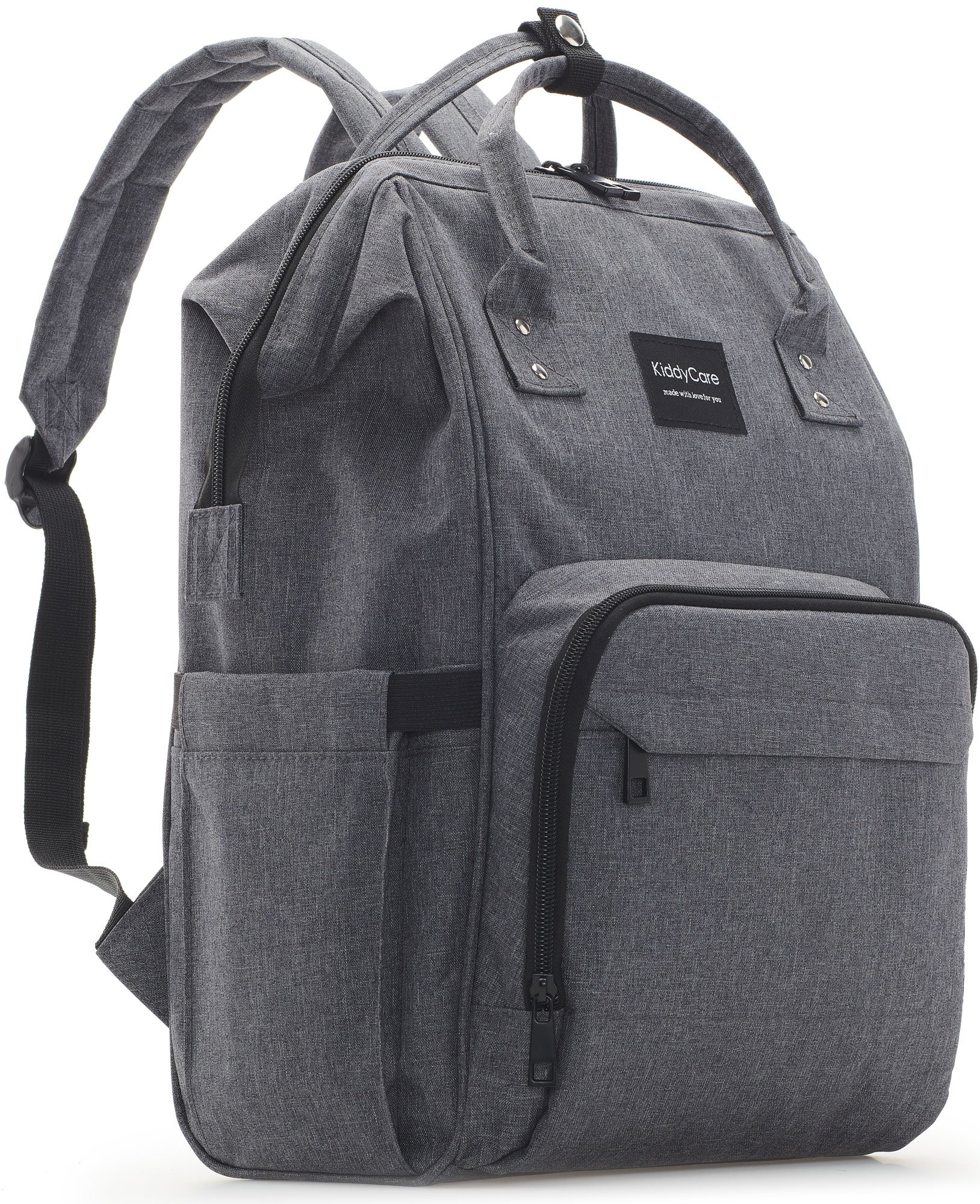 KiddyCare Diaper Bag Backpack - Multi-Function Waterproof Maternity Nappy Bags for Travel with Baby - Large Capacity, Durable and Stylish, Dark Gray