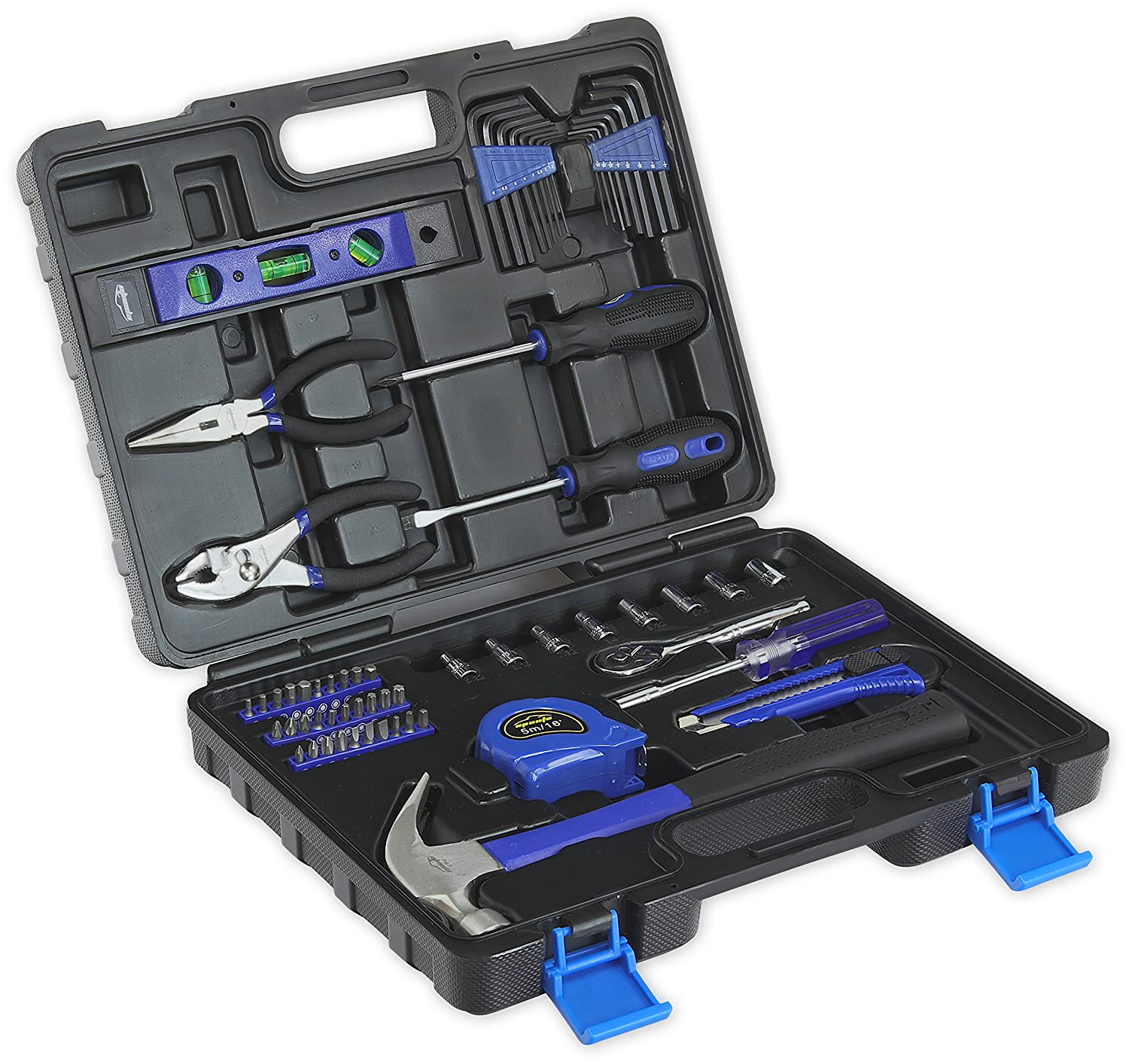 65-Piece Tool Set - General Household Hand Tool Kit with Toolbox Storage Case EPAuto