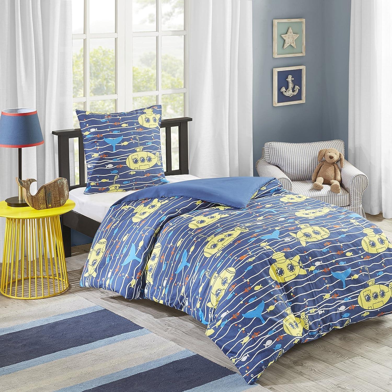 MIZONE Finn 2-tlg Kinderbettwäsche Set 100% Baumwolle Kinder Bettgarnitur Mädchen Jugendliche Teenager Bettwäsche Tier Grün Blau, 135x200cm+50X75cm SCM Home