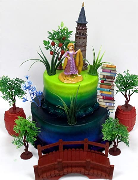 Amazon TANGLED Princess RAPUNZEL Birthday Cake Topper Featuring Rapunzel Figure And Decorative Themed Accessories Toys Games