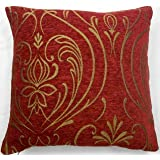 """Luxurious Red/Wine Chenille Cushion Cover with Gold Regency Design to fit a 18""""x18"""" Pad Free P & P"""
