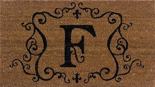 Evergreen 2RM006 Monogram Door Mat, Coir Insert, Letter F, 16-Inches x 28-Inches