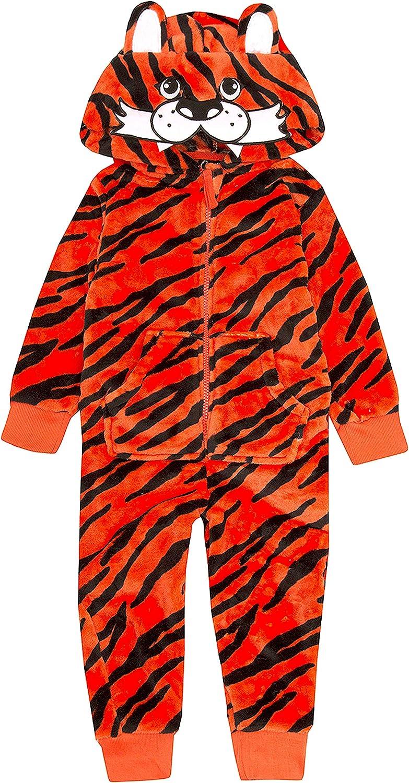 Meztuyan Children Infant Kids Tiger Onezee Jumpsuit All in One Playsuit Fleece Soft Animals Jungle 2-13 Yrs