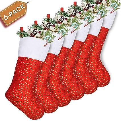 32b120160 Amazon.com  LimBridge Set of 6 Golden Star Christmas Stockings 18-Inch Red   Home   Kitchen