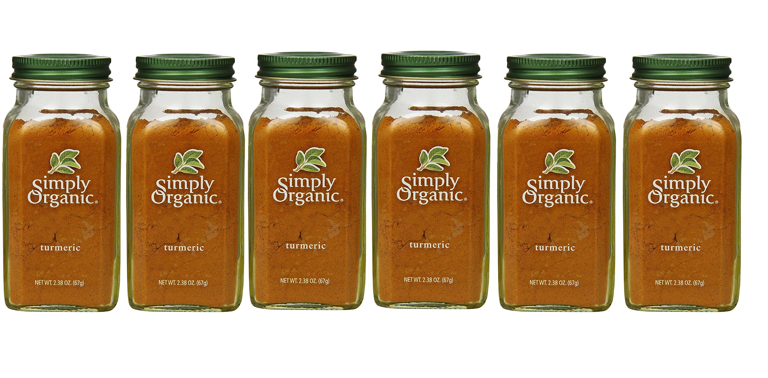 Simply Organic Turmeric Root Ground Certified Organic, 2.38-Ounce Container (6 Bottles)
