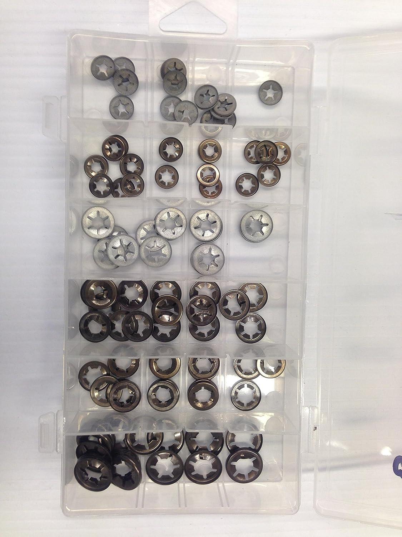 Starlock Unterlegscheiben, metrisch, 4 mm, 5 mm, 6 mm, 7 mm, 8 mm und 9 mm, 120 Stü ck. Waterlineproducts