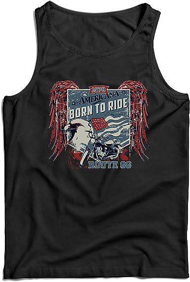 lepni.me Camisetas de Tirantes para Hombre Ruta histórica 66 - águila de la Bandera Americana, Camisa clásica de la Motocicleta (Small Negro Multicolor): Amazon.es: Ropa y accesorios