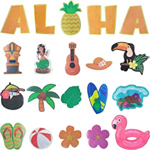 MALLMALL6 20Pcs Reflective Magnet Car Decorations Waterproof Refrigerator Magnets Mailbox Decors Swim Ring Palm Tree Flamingo Hawaii Supply Honeycomb Texture Design Whiteboard Home Decoration for Cars
