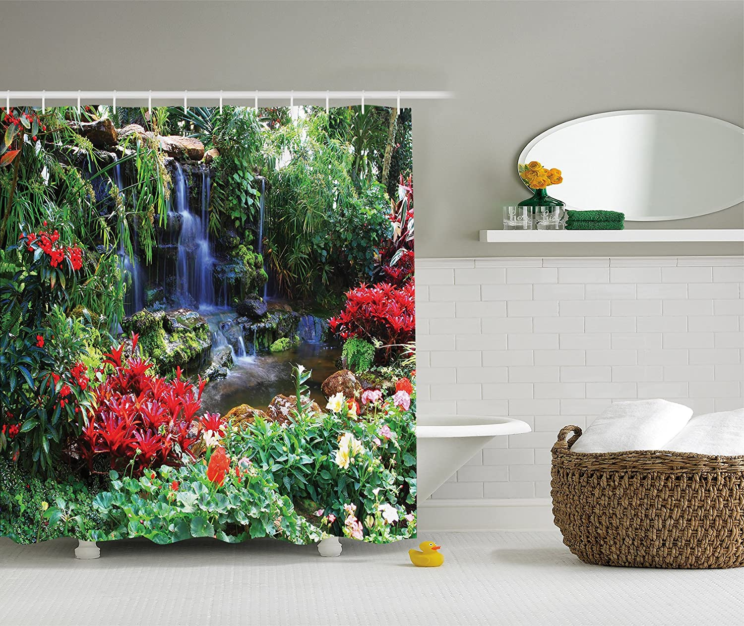 Ambesonne Tropical Landscape World Nature Scenery Decor Collection, Watrefall in Thailand Forest Spring Green Pictures Photo Prints, Polyester Fabric Bathroom Shower Curtain Set with Hooks sc_8874_0405