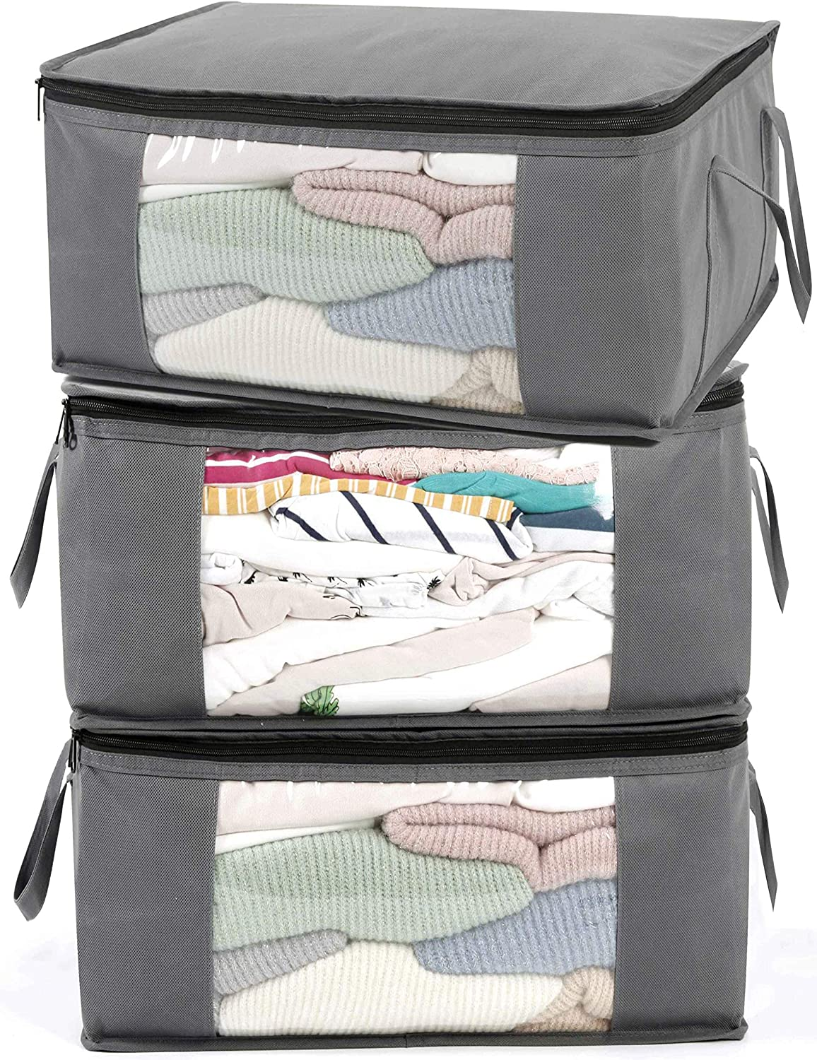 ABO Gear Storage Bins Storage Bags Closet Organizers Sweater Storage Clothes Storage Containers with Handle 3pc Pack,Light Grey
