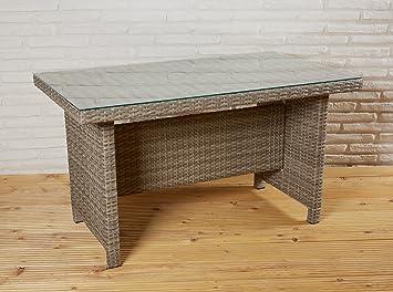 Tisch braun Gartentisch Garten Rattan Terrassentisch Rattantisch Glastisch neu