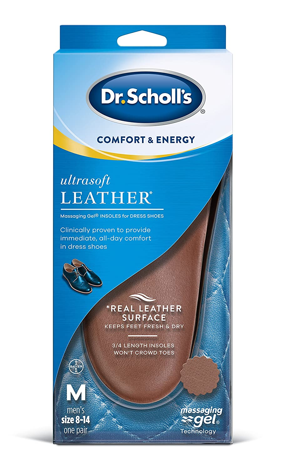 a090ad936c7 Amazon.com  Dr. Scholl s Ultrasoft Leather Insoles for Dress Shoes (Men s  8-14)    All-Day Comfort with Massaging Gel plus a Real Leather Surface   Health ...