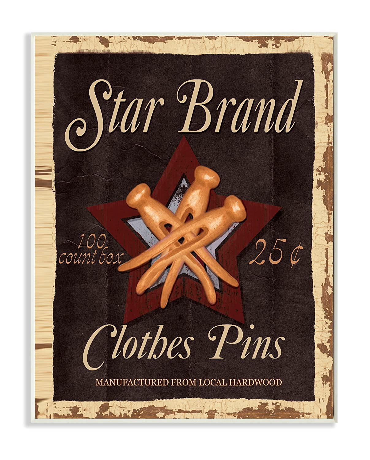 10 x 0.5 x 15 Stupell Home D/écor Vintage Look Star Brand Clothes Pins Wall Plaque Art Proudly Made in USA