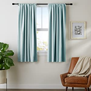 "AmazonBasics Room Darkening Blackout Window Curtains with Tie Backs Set, 52"" x 63"", Seafoam Green"