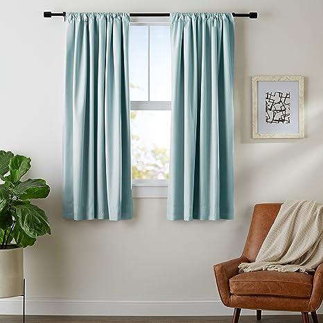 Amazon Basics Room Darkening Blackout Window Curtains With Tie Backs Set 52 X 63 Seafoam Green Home Kitchen