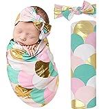Posh Peanut Mermaid Baby Swaddle Blanket - Large Premium Knit Baby Swaddling Receiving Blanket and Headband Set, Baby Shower Newborn Gift (Gold Scales)
