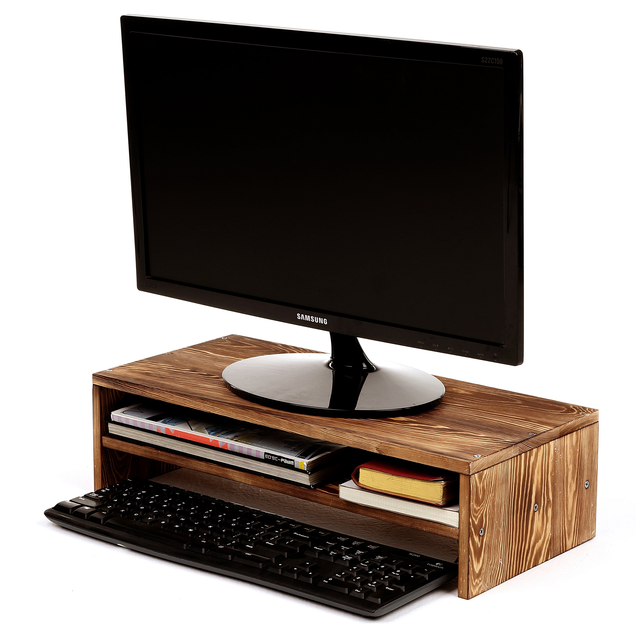 2-Tier Wood Computer Monitor Riser Stand w/ Organizer Shelf by MyGift