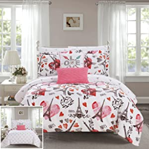 Chic Home Le Marias 9 Piece Reversible Comforter Paris is Love Inspired Printed Design Bed in a Bag-Sheet Set Decorative Pillows Shams Included Size, Full, Pink