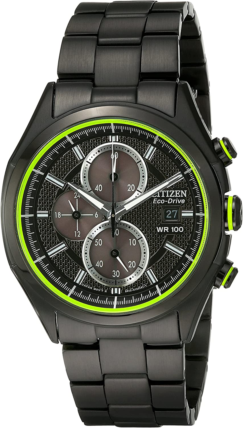 Citizen Men s Drive Eco-Drive Black Ion-Plated Strap with Green Accented Dial